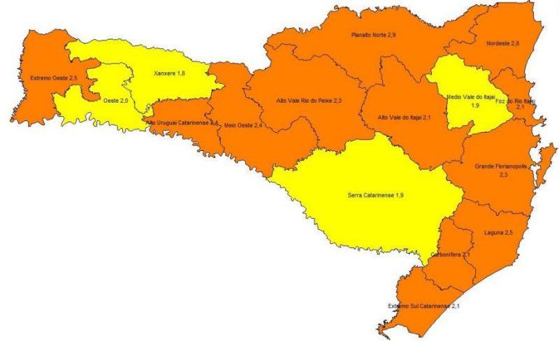 Quais regiões de SC têm mais e menos risco de contágio de Covid-19
