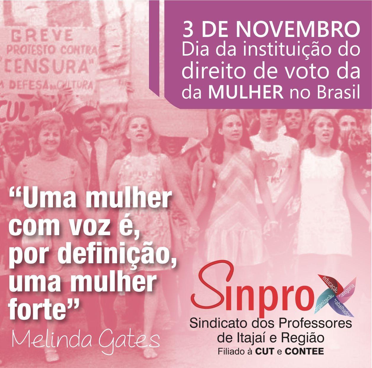 Dia 3 de novembro comemoração da instituição do voto feminino
